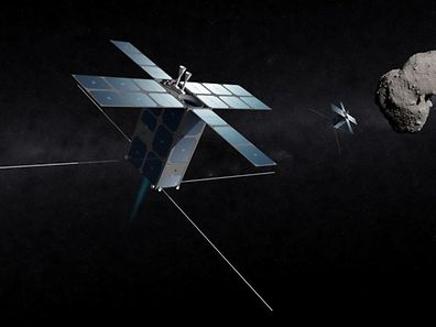 "Graphic of the ""Prospector-X"", the inaugural mission of the partnership between Deep Space Industries and the Luxembourg Government"