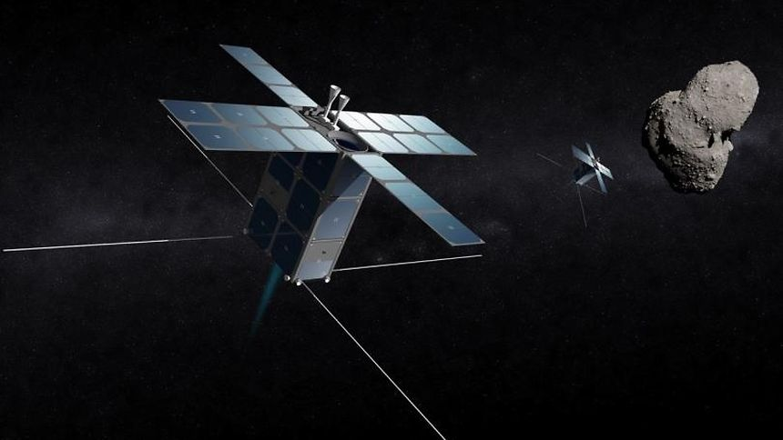 """Graphic of the """"Prospector-X"""", the inaugural mission of the partnership between Deep Space Industries and the Luxembourg Government"""