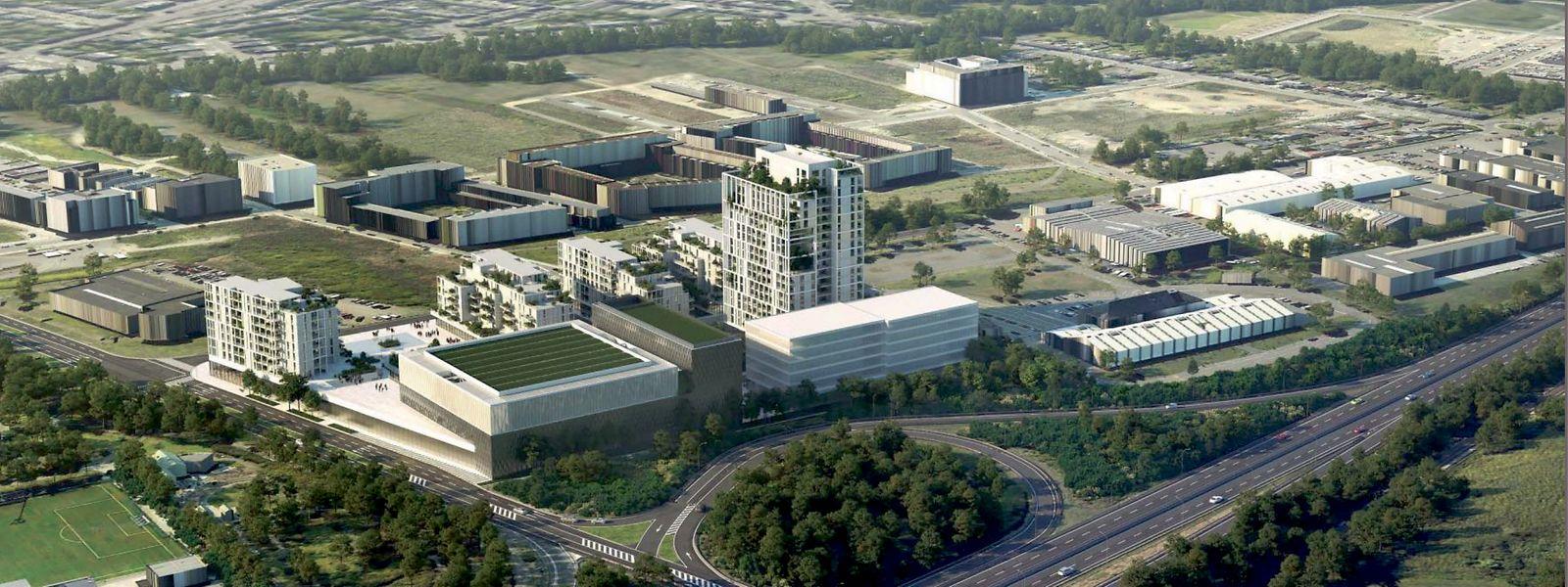 In etwa so könnte das neue Viertel in Zukunft aus der Luft aussehen. Im Vordergrund ist die A4 zu erkennen. Hinter den geplanten Neubauten befindet sich das Viertel Nonnewisen.