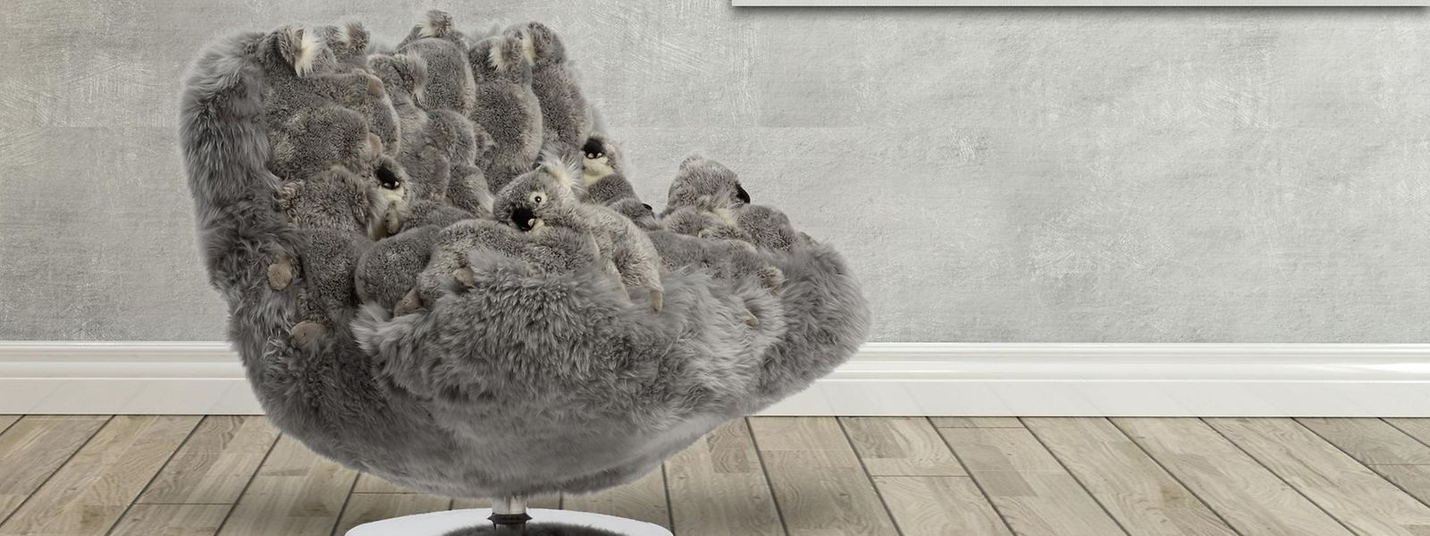 Viele kuschelige Koalabären aus Plüsch bilden die Sitzfläche des Sessels von APcollection.