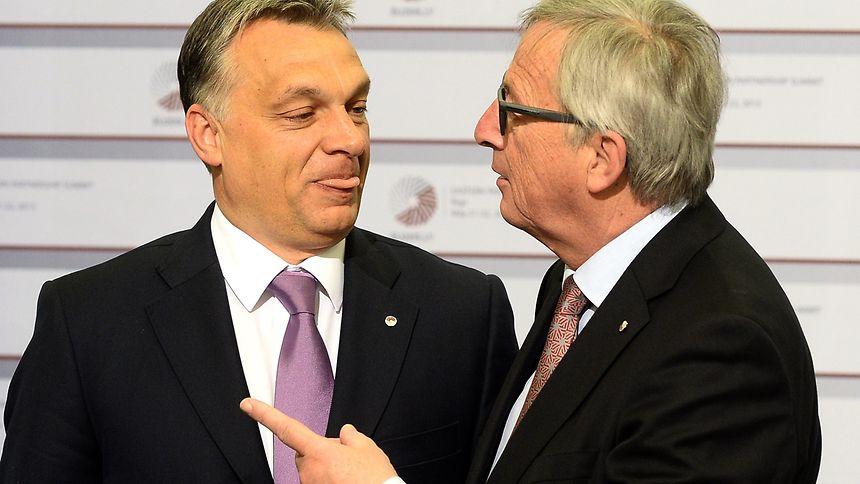 Nicht ganz einer Meinung, wahrscheinlich auch nicht in der Frage der Kostenübernahme für den Grenzzaun: Victor Orban (l.) und Jean-Claude Juncker.