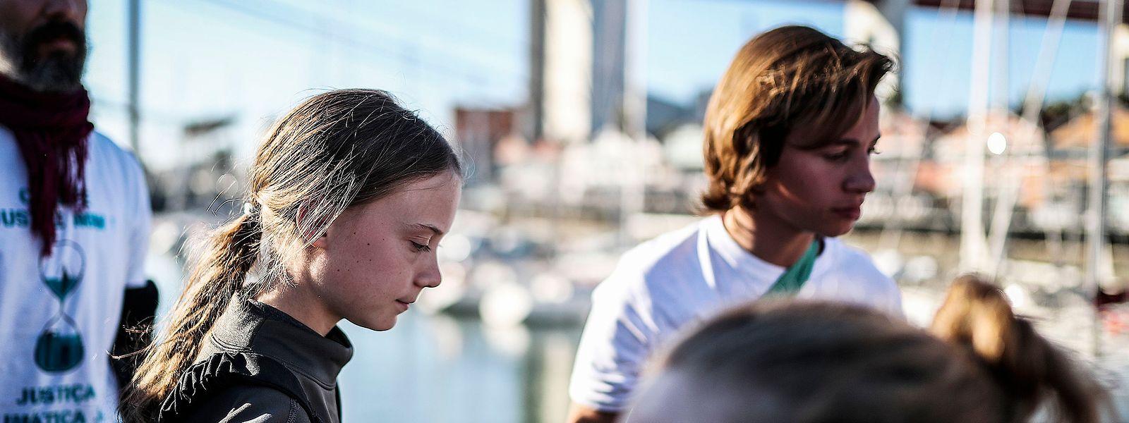 Die schwedische Klimaaktivistin Greta Thunberg bei ihrer Ankunft in Lissabon.