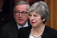 "European Commission President Jean-Claude Juncker (L) and British Prime Minister Theresa May arrive to give a press conference following their meeting in Strasbourg, on March 11, 2019. - The British government said on Monday it had agreed ""legally binding changes"" to the Brexit deal during discussions between British Prime Minister Theresa May and EU officials in Strasbourg. (Photo by Frederick FLORIN / AFP)"