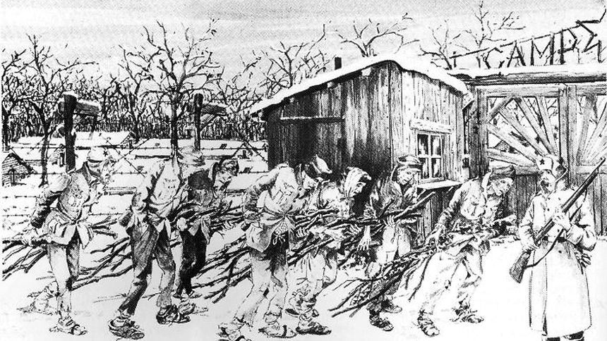 Das Leid der Kriegsgefangenen in Tambow. Eine Zeichnung des elsässischen Zwangsrekrutierten A. Thiam.