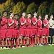 Die luxemburger U17 bei der Nationalhymne/ Fussball U17 EM-Qualifikation 2016, Saison 2015-2016 / 26.10.2015 /Luxemburg U17 - Oesterreich U17 (Luxembourg Under-17 vs Austria Under-17) / Stade rue Henri Dunant, Beggen /Foto: Ben Majerus