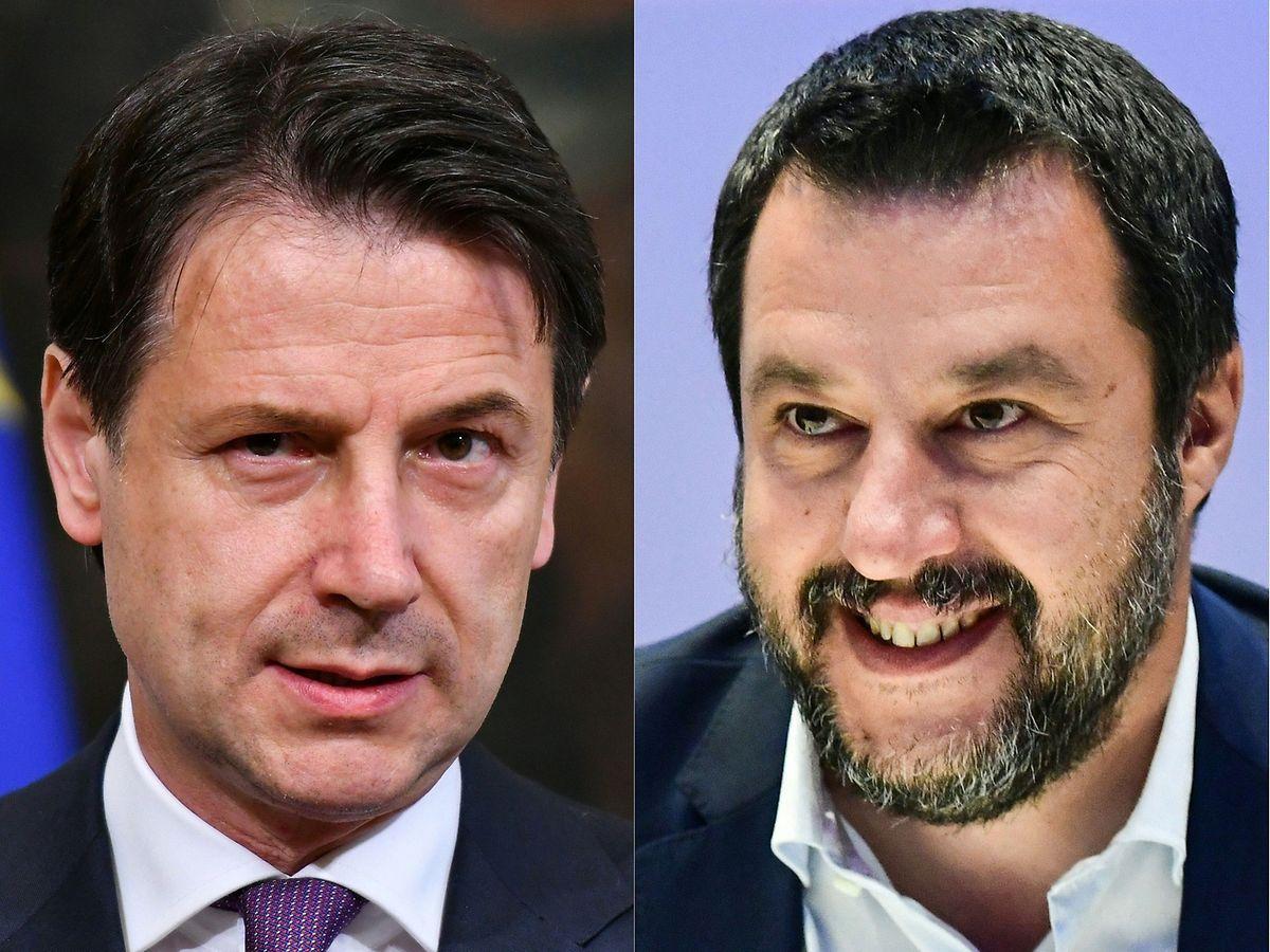 Der parteilose Ministerpräsident Giuseppe Conte (links) und Innenminister Matteo Salvini der Lega Nord (rechts) lieferten sich in einer Senatssitzung am Dienstag einen verbalen Schlagabtausch.