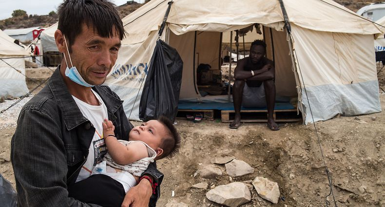 The daily life of the refugees in the new camp of Kara Tepe on September 28, 2020, in Lesvos, Greece. (Photo by Vassilis A. Poularikas/NurPhoto via Getty Images)
