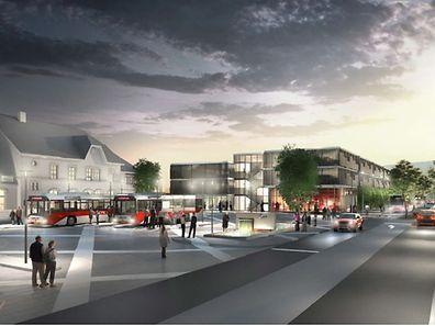 So soll der Bahnhofsvorplatz in Wasserbillig nach der Umgestaltung aussehen.
