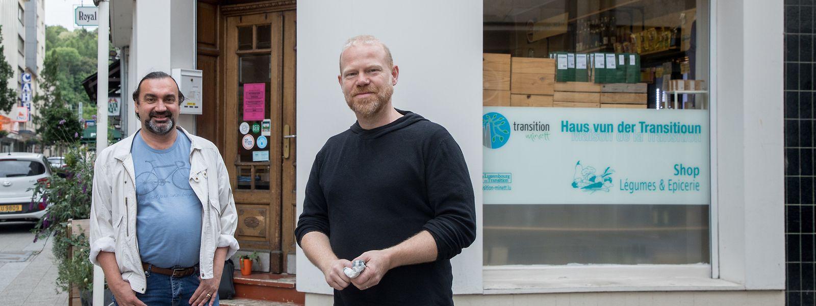 Eric Lavillunière (l.) und Norry Schneider sind Mitbegründer der Bewegung Transition Minett.