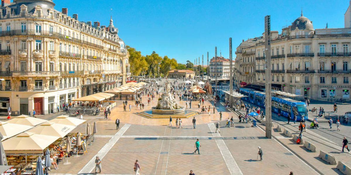 """Die """"Place de la Comédie"""" in Montpellier."""