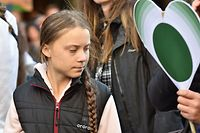 Swedish environmental activist, 16 year old Greta Thunberg attends a rally hosted by Sustainabiliteens at the Vancouver Art Gallery in Vancouver, British Columbia on October 25, 2019. (Photo by Don MacKinnon / AFP)