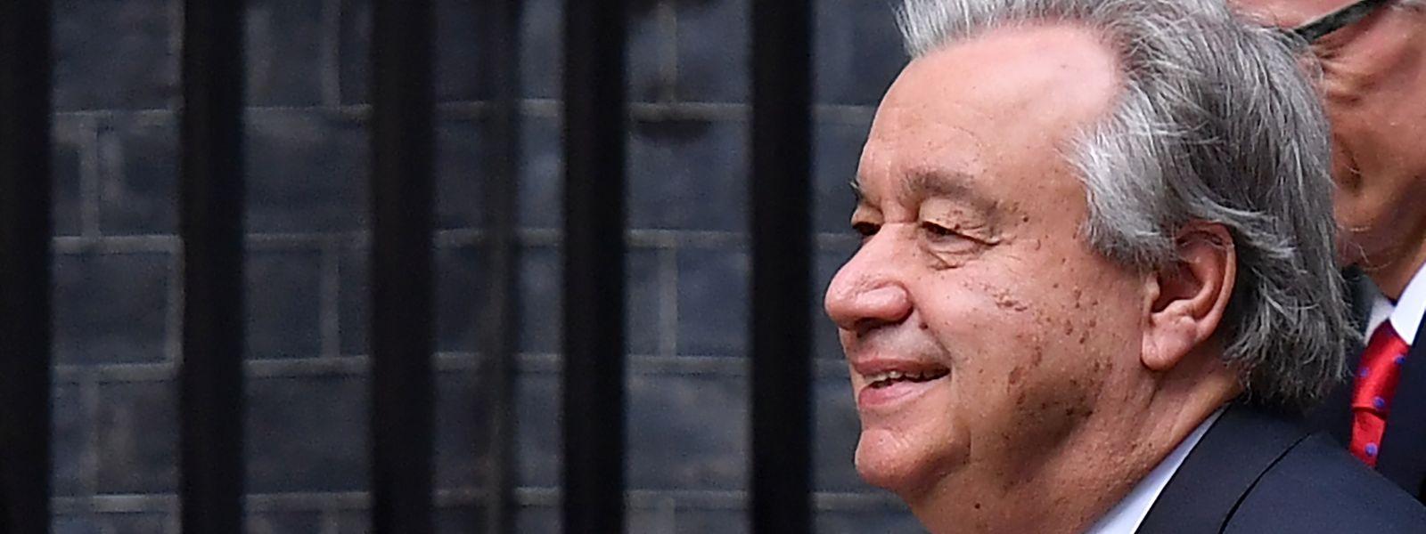 António Guterres fez uma pequeno discurso em português nos jardins das Nações Unidas