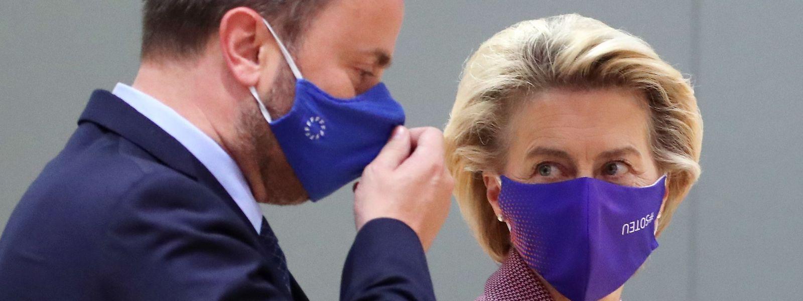 Premierminister Xavier Bettel mit Kommissionspräsidentin Ursula von der Leyen beim EU-Gipfel am Donnerstag.