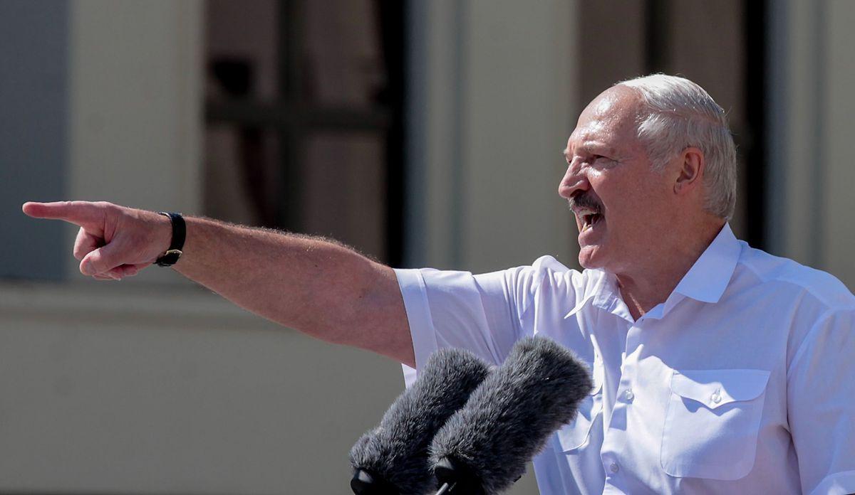 Staatschef Alexander Lukaschenko nahm am Sonntag selbst an einer Kundgebung teil.
