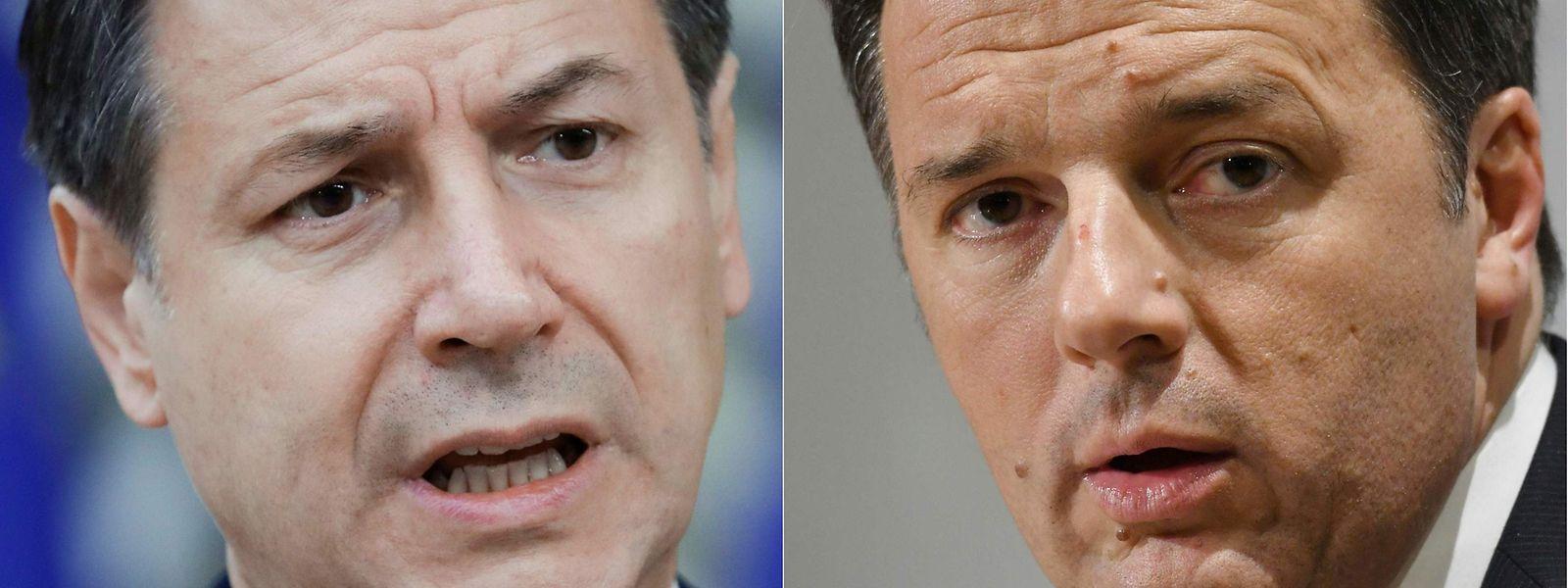 Der italienische Premierminister Giuseppe Conte (links) liegt im Clinch mit dem früheren Amtsinhaber Matteo Renzi.