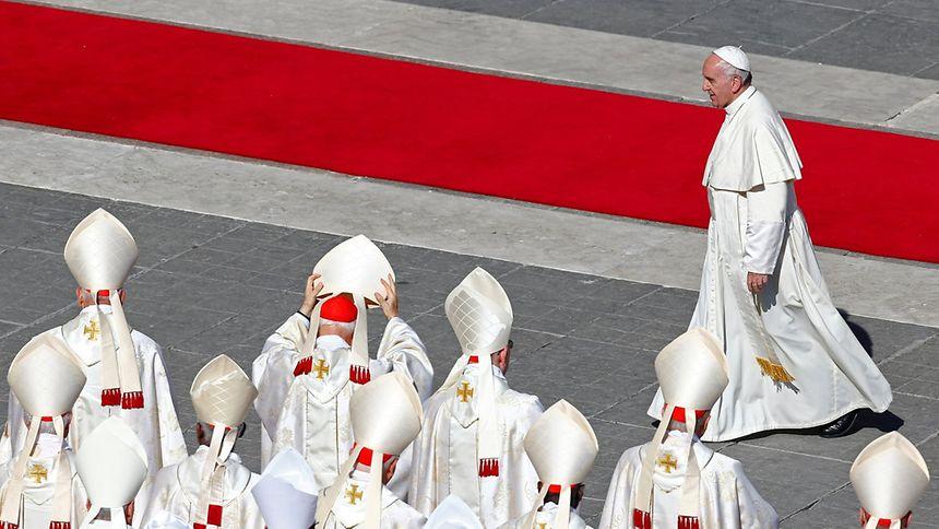 Le pape François lors d'une canonisation multiple en octobre 2016, à la basilique Saint-Pierre de Rome.