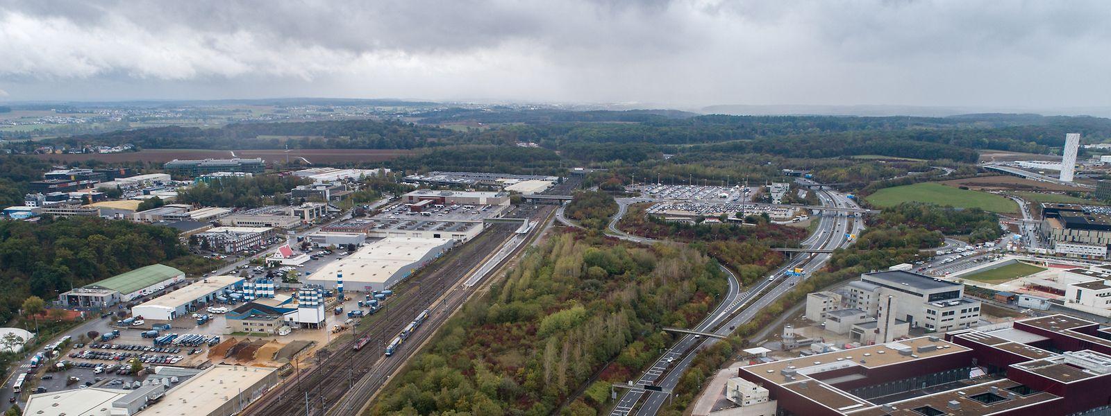 Das Midfield-Gelände erstreckt sich vom Rond-Point Gluck (unten) bis zum Park&Ride Luxembourg-Sud II  (oben).