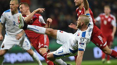 Slovakia's Adam Nemec scoring the 1-0 goal