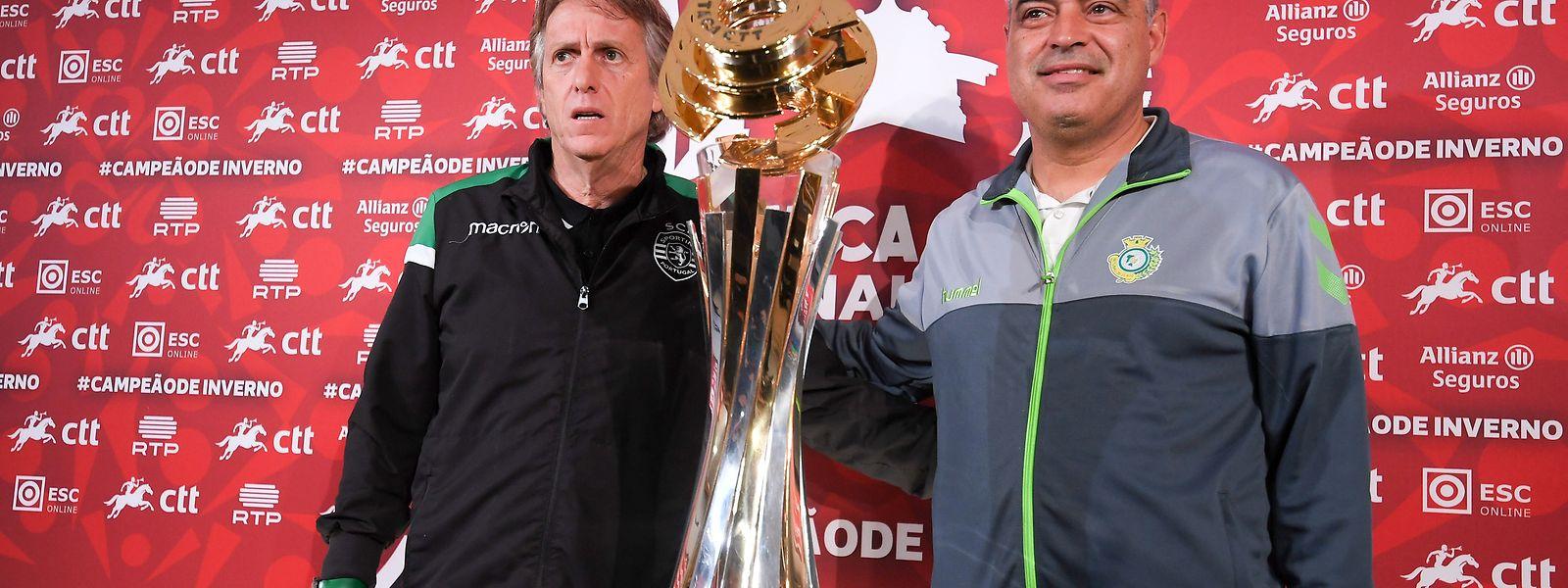 Conferência de imprensa conjunta dos treinadores do Sporting, Jorge Jesus (E), e do Vitória de Setúbal, José Couceiro, de antevisão da final da Taça da Liga realizada no Estádio Municipal de Braga, 26 janeiro de 2018. HUGO DELGADO/LUSA
