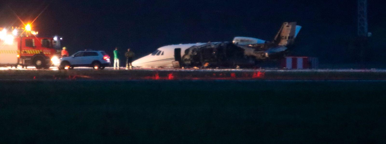 Die Cessna 560XL fing bei der Landung am Flughafen Aarhus Feuer.