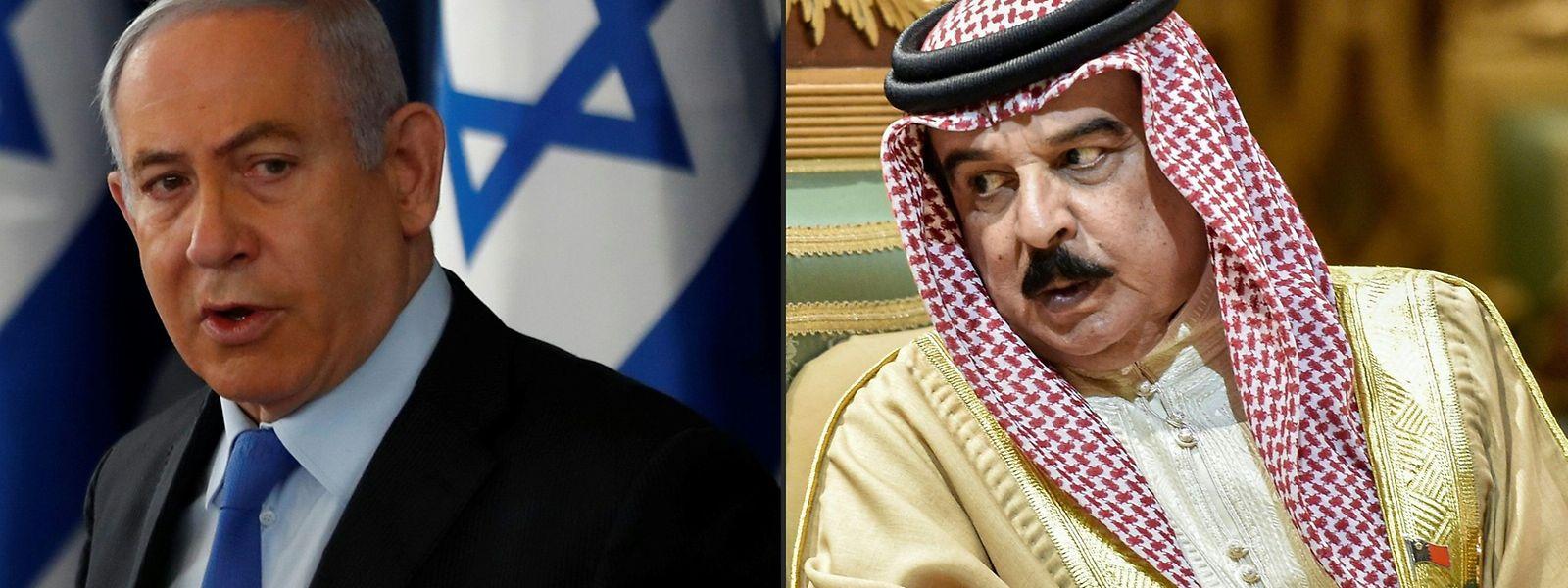 Israels Premier Benjamin Netanjahu und König Hamad bin Isa Al Khalifa, Staatschef von Bahrain.