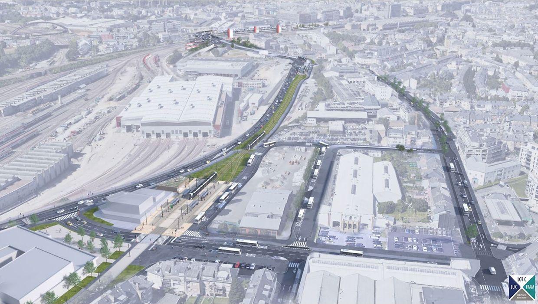 L'actuelle route de Thionville (à d.) doit être dédiée à la mobilité douce, tandis que le trafic automobile doit transiter le long de la nouvelle N3 (à g.)