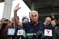 FORT LAUDERDALE, FLORIDA - JANUARY 25: Roger Stone, a former advisor to President Donald Trump, speaks to the media after leaving the Federal Courthouse on January 25, 2019 in Fort Lauderdale, Florida. Mr. Stone was charged by special counsel Robert Mueller of obstruction, giving false statements and witness tampering.   Joe Raedle/Getty Images/AFP == FOR NEWSPAPERS, INTERNET, TELCOS & TELEVISION USE ONLY ==