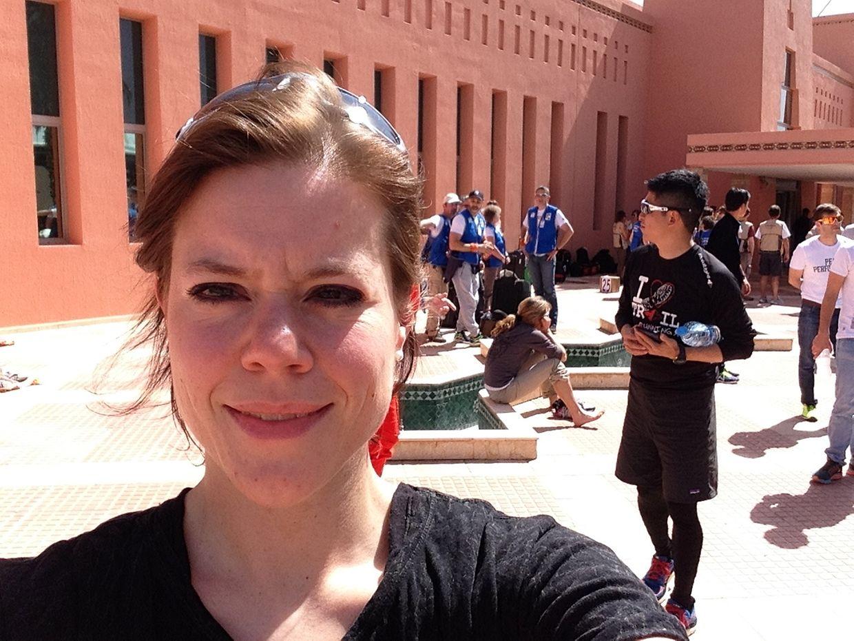 Sophie à l'arrivée au Maroc, avant le début de l'épreuve