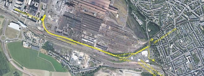 Der gelb eingezeichnete Studentewee soll nach diesem provisorischen Plan von Belval entlang der Bahngleise zwischen der ehemaligen Arbeitersiedlung Esch-Belval und dem gleichnamigen Stahlwerk bis nach Esch/Alzette führen. Er beginnt unweit des Bürogebäudes des Fonds Belval und endet nahe dem Autohaus Losch .