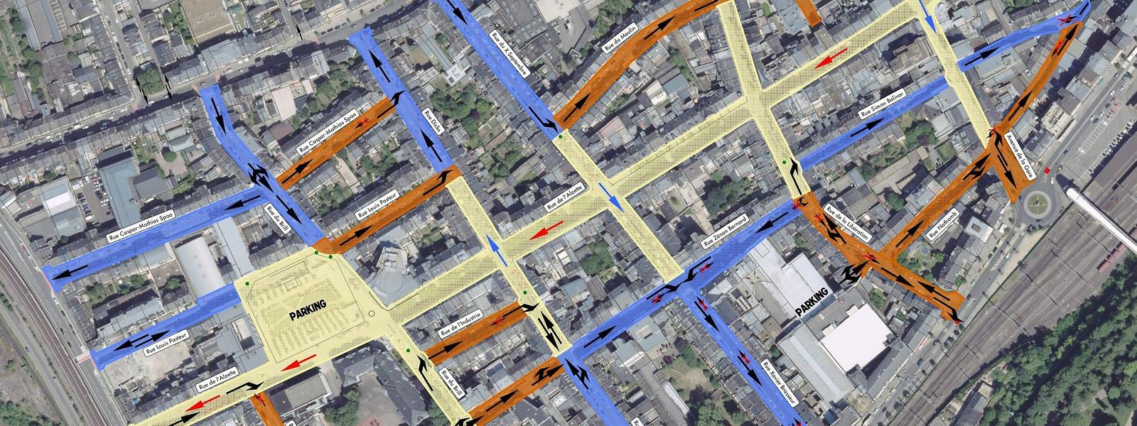 Gelb eingezeichnet ist die Fußgängerzone, orange eingetragen sind die Begegnungszonen (Tempo 20) und blau die Tempo-30-Straßen.