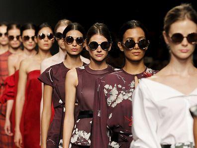 Models present creations by Colombian designer Johanna Ortiz during Lima Fashion Week March 24, 2015. REUTERS/Enrique Castro-Mendivil