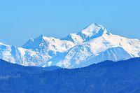 """ARCHIV - 27.09.2018, ---, --: Der schneebedeckte Mont Blanc in den Alpen. (Zu dpa """"Sorge um «kranken» Gletscher am Mont Blanc"""") Foto: Soeren Stache/dpa +++ dpa-Bildfunk +++"""