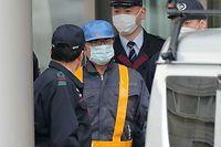 Carlos Ghosn à sa sortie de la prison de Kosuge ce mercredi matin.