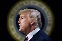 TOPSHOT - US President Donald Trump speaks during a summit on transforming mental health treatment to combat homelessness, violence and substance abuse at the White House campus on December 19, 2019 in Washington,DC. (Photo by Brendan Smialowski / AFP)