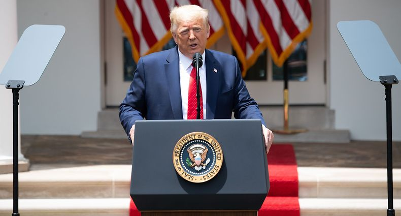 US President Donald Trump speaks prior to signing an executive order on police reform in the Rose Garden of the White House in Washington, DC, June 16, 2020. (Photo by SAUL LOEB / AFP)