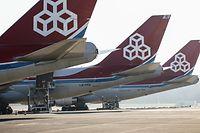 Warten auf Fracht: Seit Tagen parken Cargolux-Flieger am Flughafen Findel.