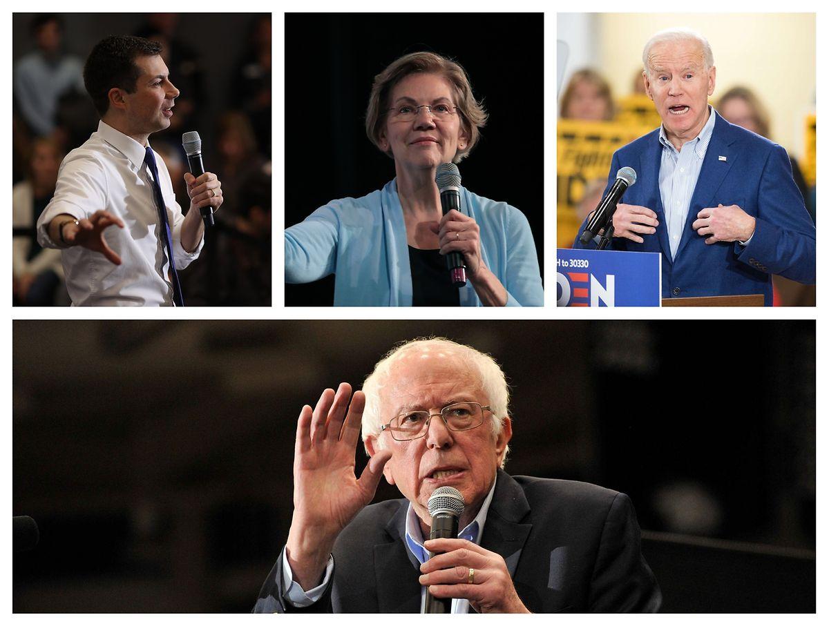 Von links nach rechts: Pete Buttigieg, Elizabeth Warren, Joe Biden, Bernie Sanders.