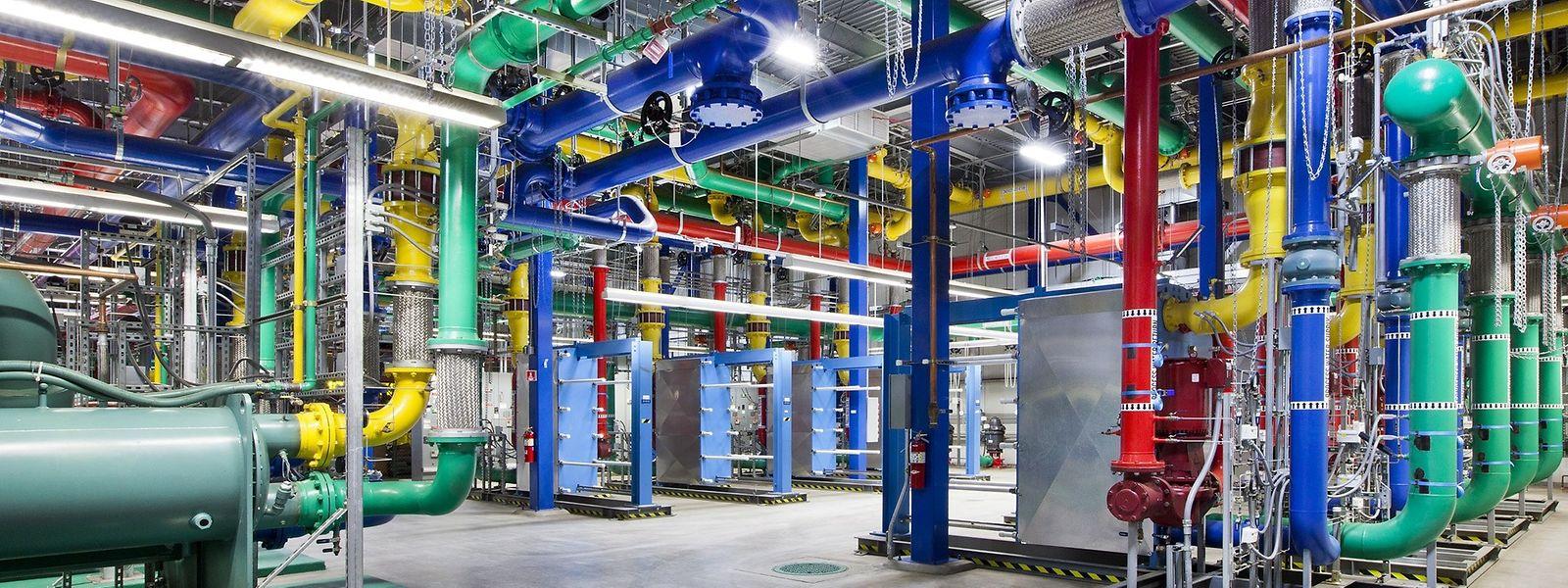 Ein Blick auf das Kühlsystem eines Google-Rechenzentrums. In Luxemburg soll Luxlait mit Kühlwasser helfen, doch das wird nicht reichen.