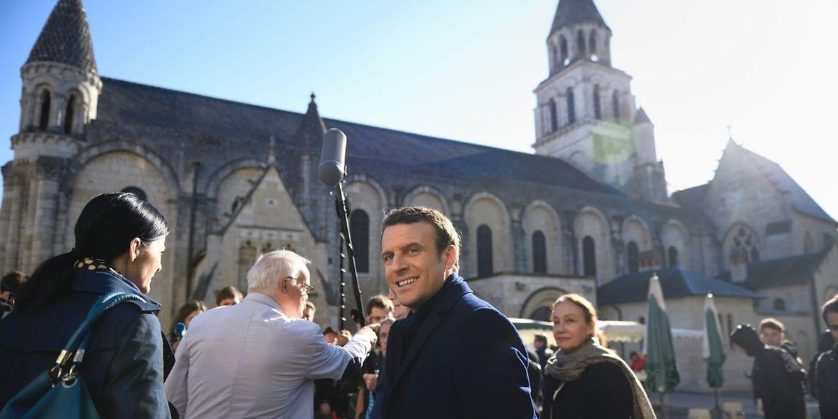 Emmanuel Macron auf Wahlkampftour in Poitiers.