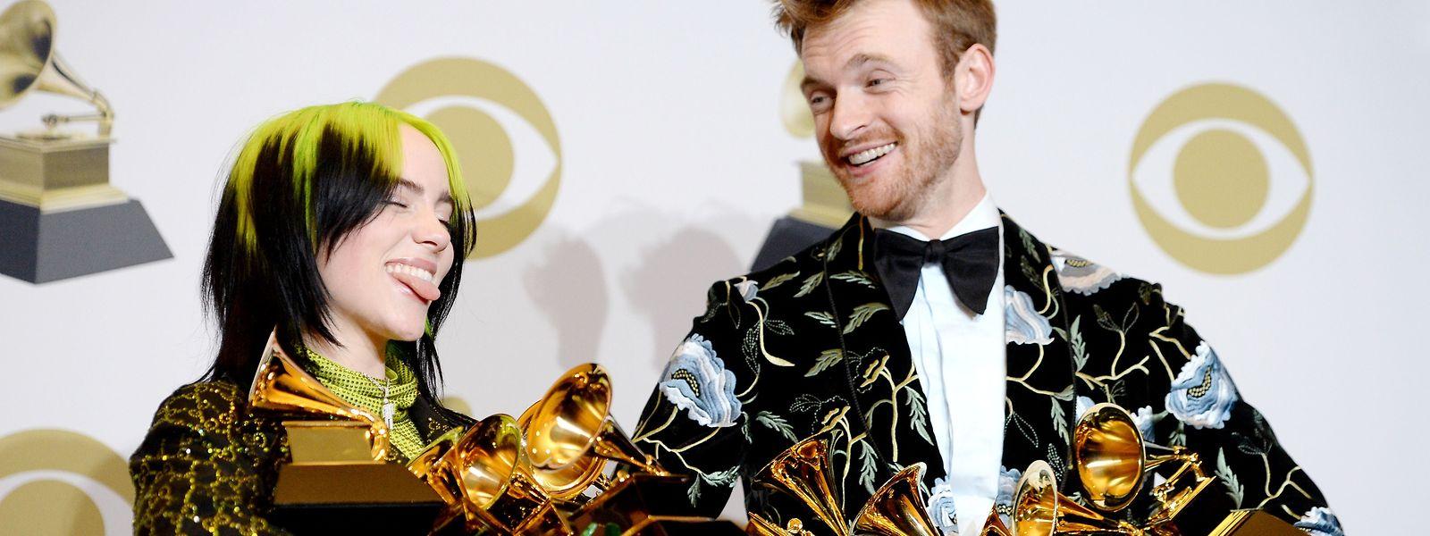 Billie Eilish, la grande gagnante des Grammy Awards au côté de son frère Finneas O'Connell, lui aussi récompensé lors de cette soirée.