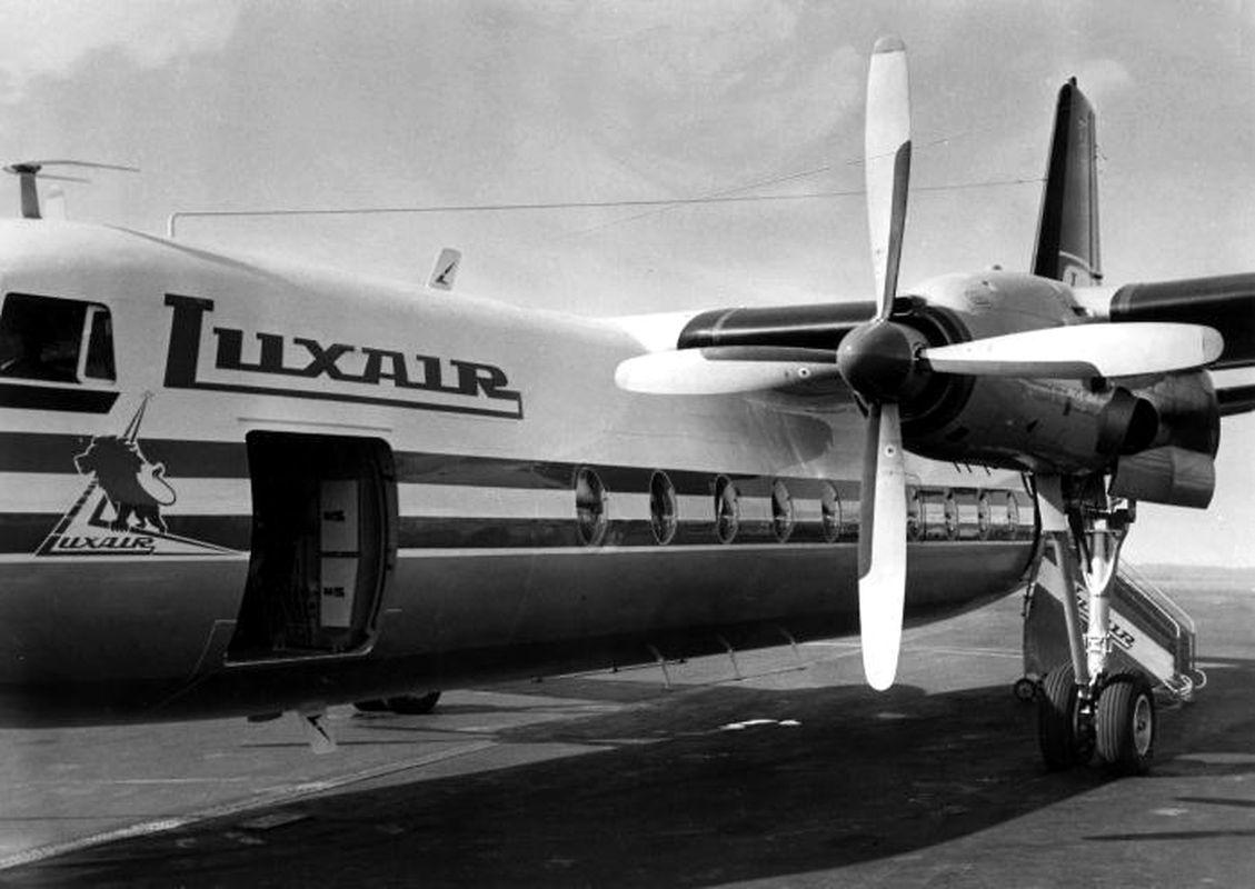 Die erste Fokker F27 der Luxair, noch mit dem damals gebräuchlichen Farbschema.