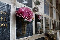 Flowers are laid on funeral urns in Pere Lachaise cemetery, in Paris on June 7, 2020, as the cemeteries reopened from June 2, during the second phase of the easing of lockdown measures taken to curb the spread of the COVID-19 pandemic, caused by the novel coronavirus. (Photo by FRANCOIS GUILLOT / AFP)