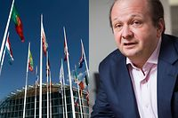 The EIB headquarters (left), Frank Schneider (right). Luxembourg Times montage.