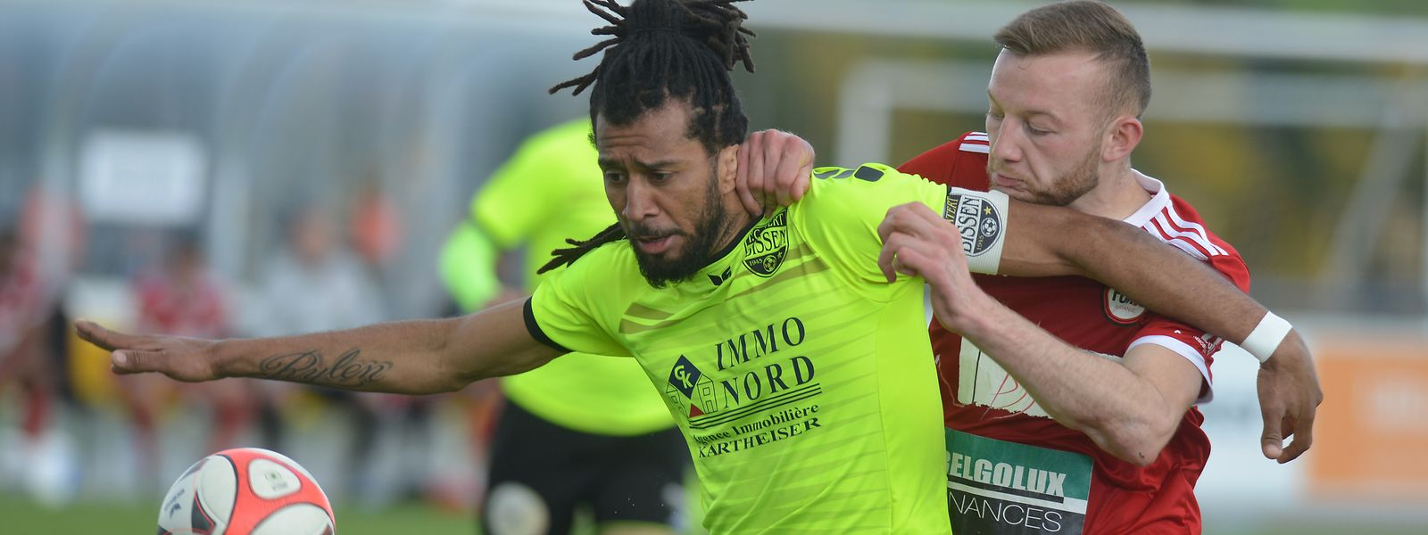 Nélito Carlos Esgaio Soares (en jaune) et Bissen sont en ballottage défavorable avant leur match capital à Junglinster