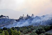 "A handout picture released by the official Syrian Arab News Agency (SANA) on October 10, 2020 shows smoke above a forest that caught fire in a mountainous region in Syria's Latakia province which overlooks the Mediterranean sea the previous day. (Photo by - / SANA / AFP) / == RESTRICTED TO EDITORIAL USE - MANDATORY CREDIT ""AFP PHOTO / HO / SANA"" - NO MARKETING NO ADVERTISING CAMPAIGNS - DISTRIBUTED AS A SERVICE TO CLIENTS =="