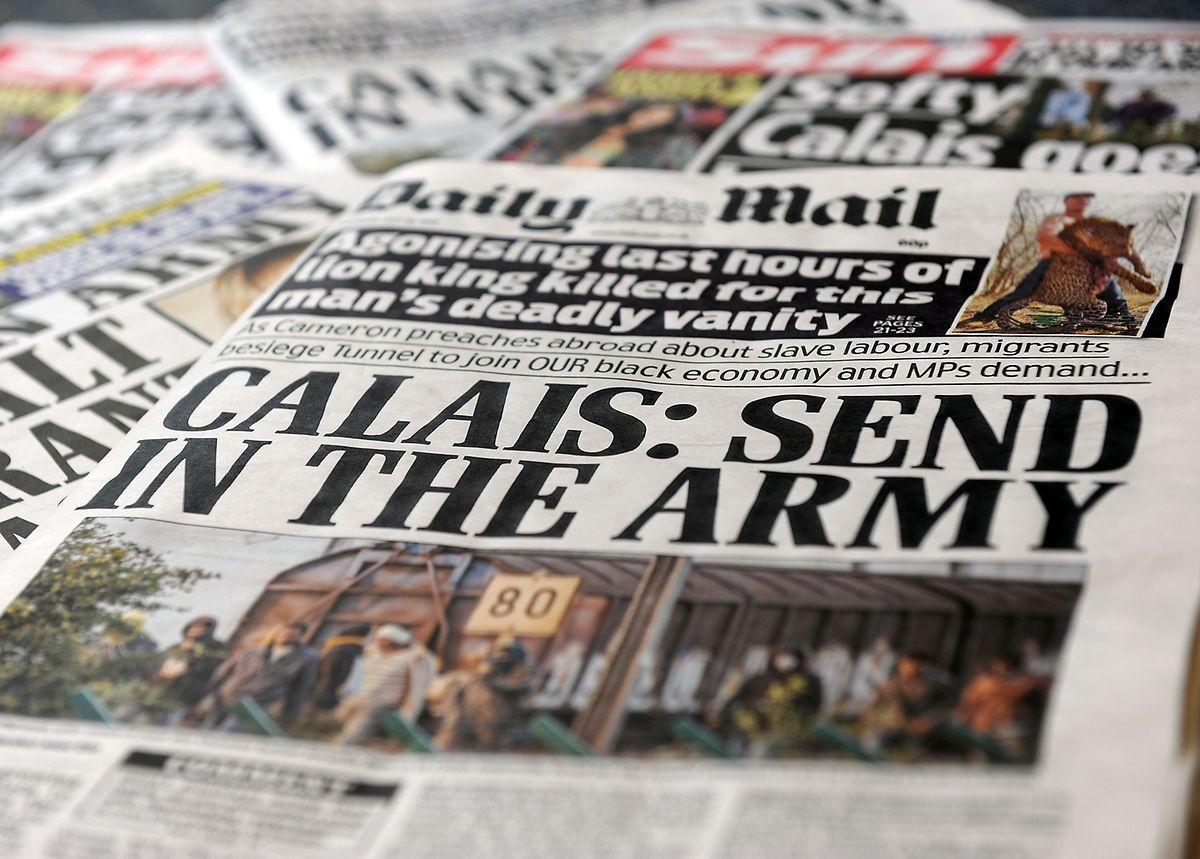 Die Flüchtlingssituation löste Ende Juli heftige Reaktionen in der britischen Presse aus. Eines der auflagenstärksten Boulevardblätter rief gar dazu auf, die Armee über den Ärmelkanal zu schicken.