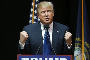 SALEM, NH - FEBRUARY 08: Republican presidential candidate Donald Trump speaks during a campaign rally at Verizon Wireless Arena on February 8, 2016 in Salem, New Hampshire. Democratic and Republican Presidential candidates are finishing up with the last full day of campaigning before voters head to the polls tomorrow.   Joe Raedle/Getty Images/AFP == FOR NEWSPAPERS, INTERNET, TELCOS & TELEVISION USE ONLY ==