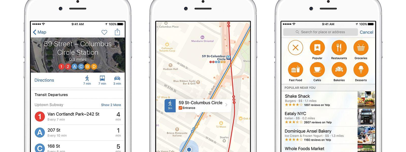 Mit iOS9 wird es Nahverkehrsinfos direkt in der Karten-App geben.
