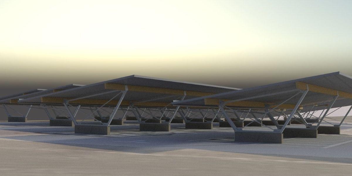 Voitures abritées, énergie verte produite : tout le monde trouvera son intérêt dans la réalisation de ce parking solaire.