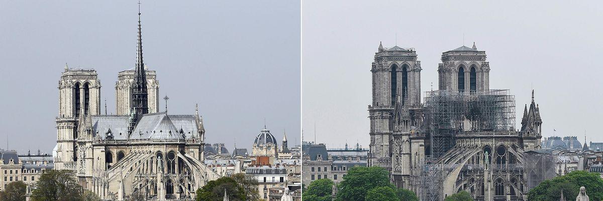 O monumento antes e depois do incêndio.